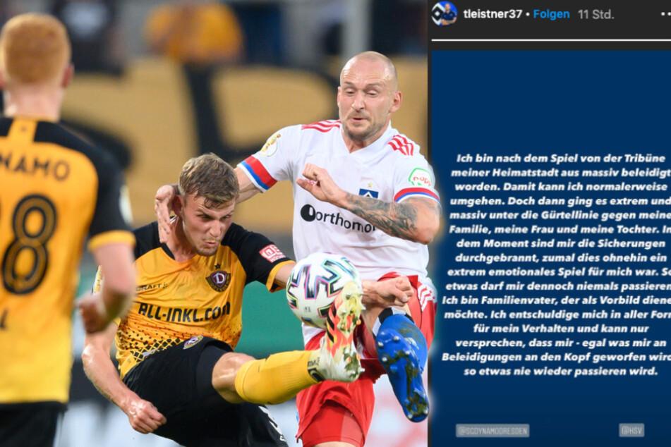 Auf dem Feld lief es nicht rund für Leistner und den HSV. Noch in der Nacht entschuldigte er sich via Instagram für seinen Ausraster. (Bildcollage)