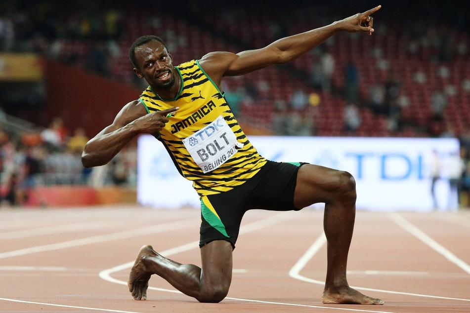 Sprinter Usain Bolt (34) mit seiner legendären Pose nach einem Lauf in Peking. (Archivbild)