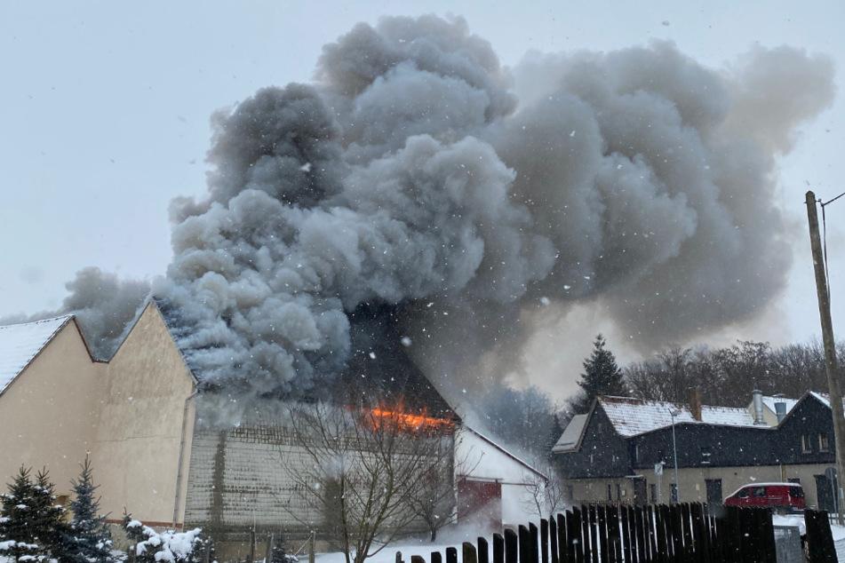 Dunkle Rauchwolke: Feuer in Vierseitenhof ausgebrochen
