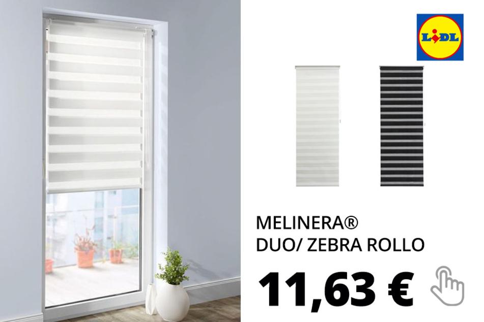 MELINERA® Duo/ Zebra Rollo, für Tür oder bodentiefe Fenster, 80 x 210 cm