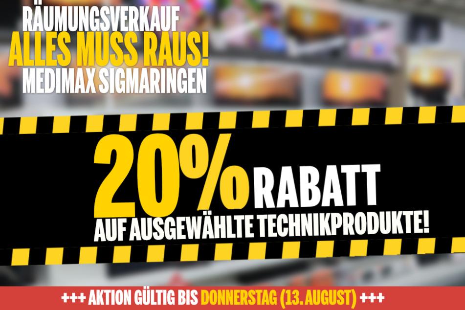 Wegen Schließung bekommt Ihr in Sigmaringen jetzt 20 % Nachlass auf ausgewählte Produkte!