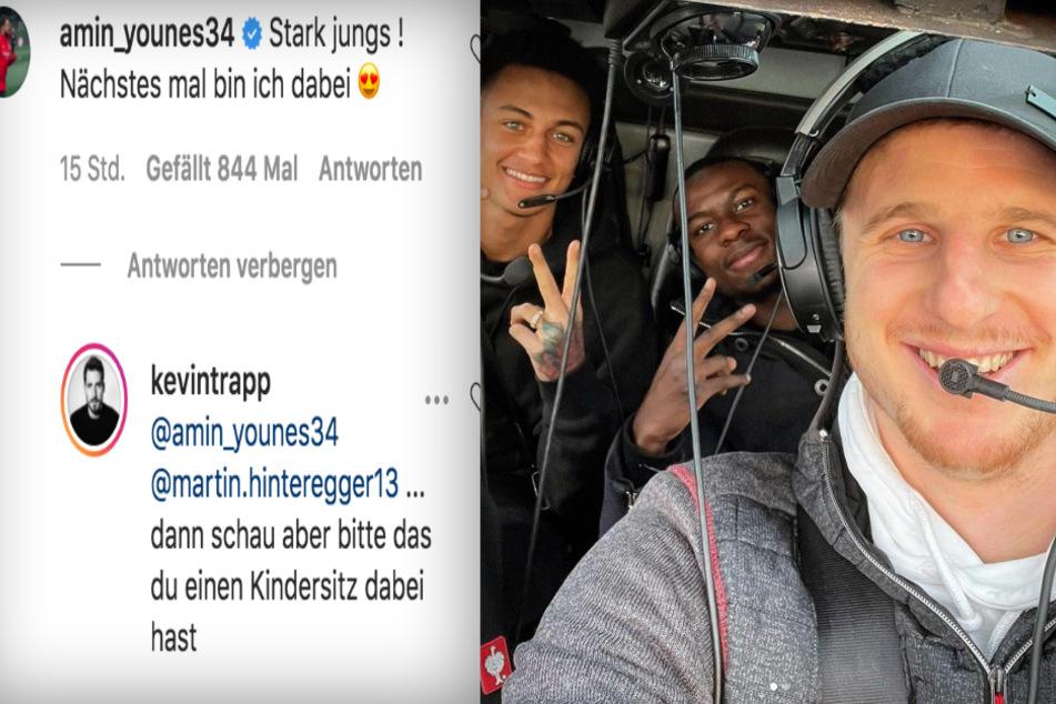 Fotomontage: Eintracht-Frankfurt-Keeper Kevin Trapp (30) teilte in einem Kommentar zu Martin Hinterggers (28/r.) Heli-Foto heftig gegen Dribbelkünstler Amin Younes (27) aus.