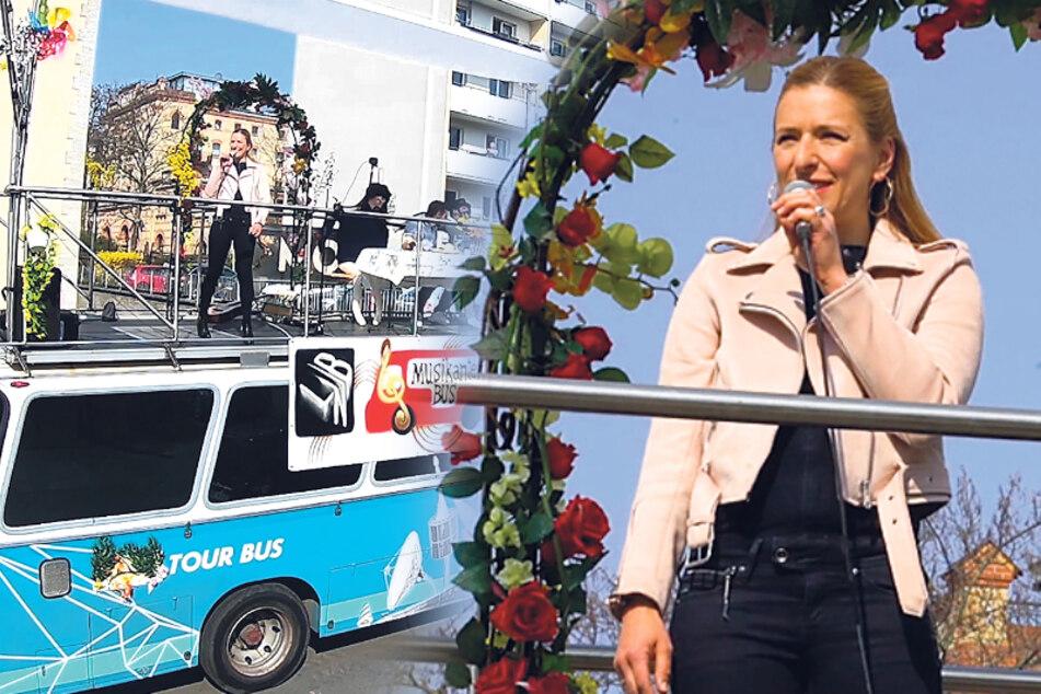 Live vom Busdach: Stefanie Hertel singt vor Altenheim für Senioren