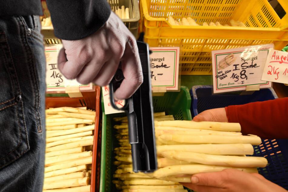 Mit Pistole bewaffnete Männer überfallen Spargel-Stand