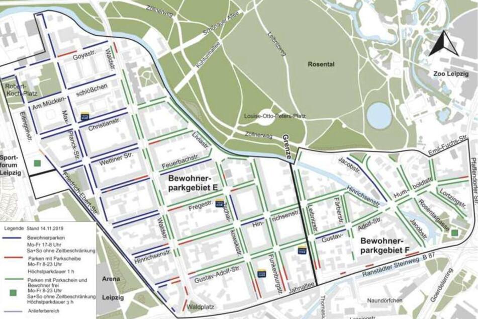 """Das Bewohnerparken im Waldstraßenviertel erstreckt sich über die Goya-/Max-Planck-Straße, die Pfaffendorfer Straße, den Ranstädter Steinweg und die Jahnallee sowie die Friedrich-Ebert-Straße/Robert-Koch-Platz. Bewohnerparkgebiet """"E"""" wurde nach dem Beschluss des OVG noch einmal aufgeteilt."""