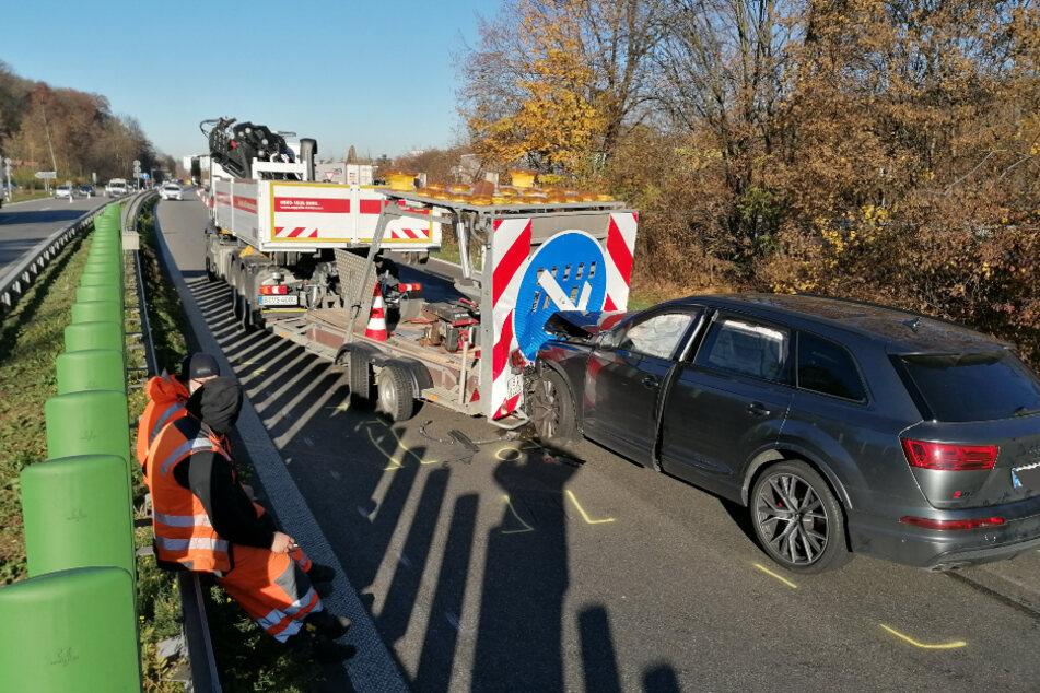 Vollsperrung nach schwerem Unfall auf der B10, Rettungshubschrauber im Einsatz