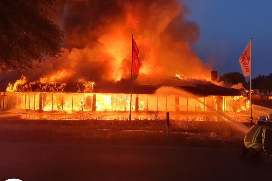 Flammen-Meer in Holzhandlung: Feuerwehr rückt mit 250 Mann an