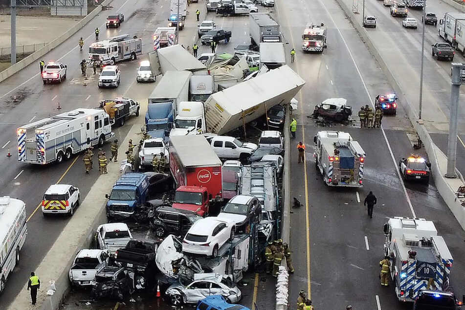 Icy conditions caused a 70-car pileup on I-35 in Forth Worth, Texas
