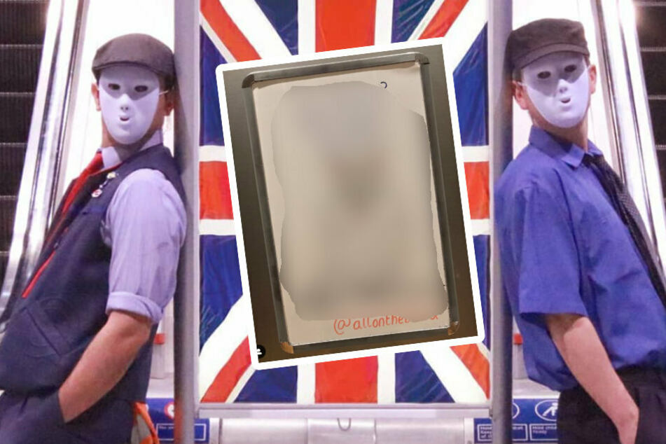 Two masked men write sweet messages on the London Underground service boards
