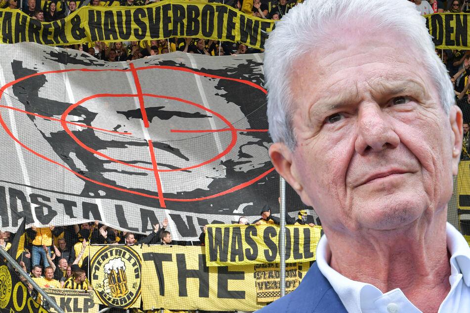 """Dietmar Hopp (80) musste sich mehrmals von Fan sim Stadion verunglimpfen lassen, wie etwa im September 2018 von BVB-Anhängern. Die """"verzierten"""" sein Konterfei mit einem Fadenkreuz. (Montage)"""