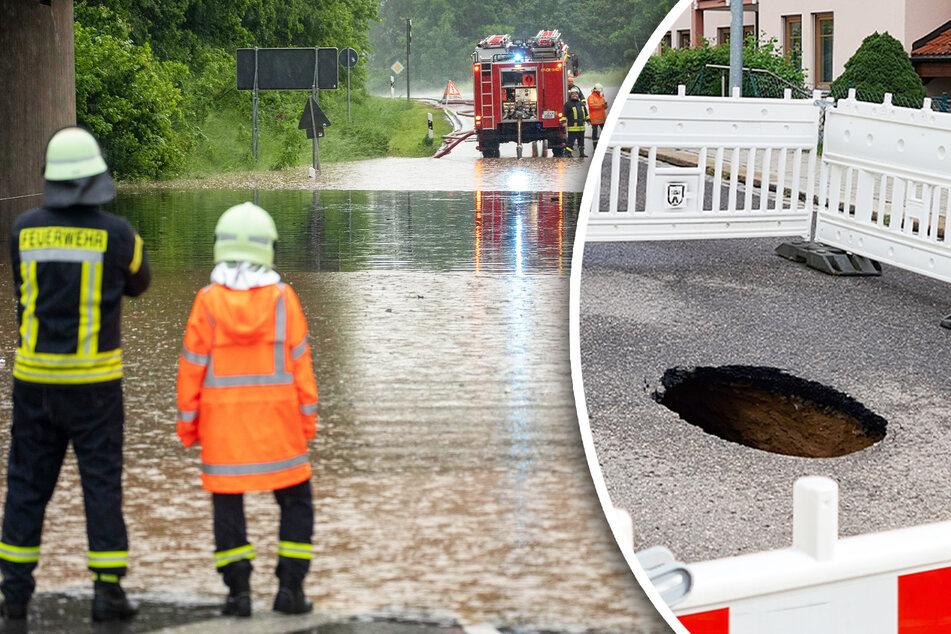 Starkregen unterspült Sachsens Straßen