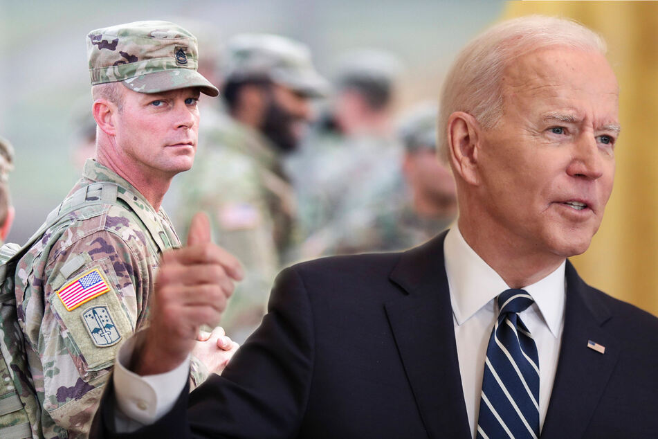 Joe Biden says he may not be able to uphold Trump's agreement to remove US troops from Afghanistan by May 1 (collage).