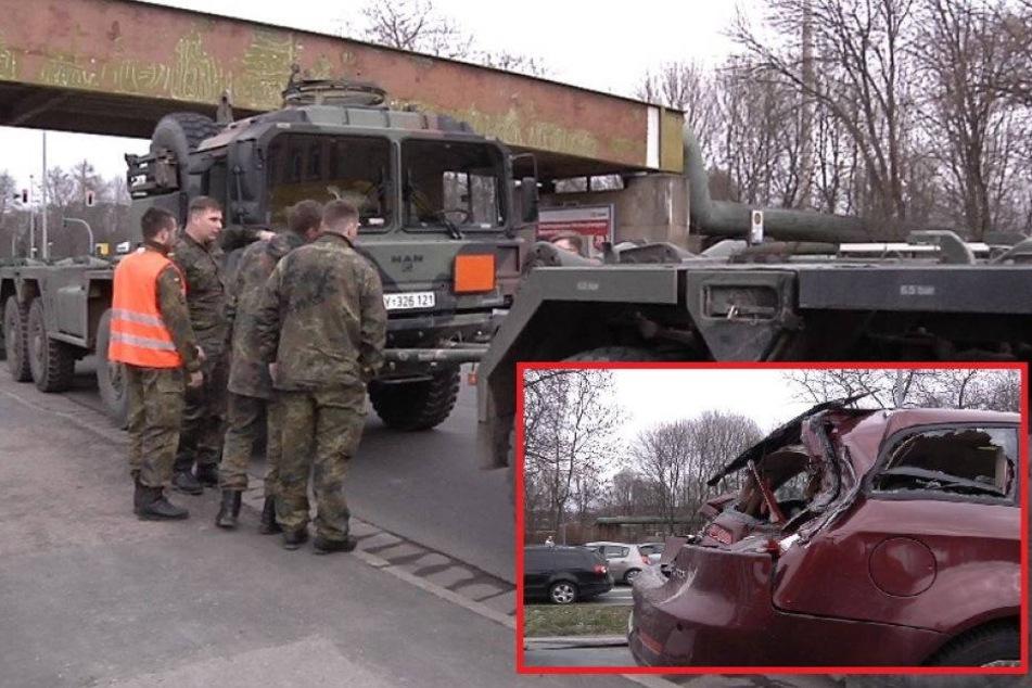 Bundeswehr-Lkw kracht in Alfa Romeo