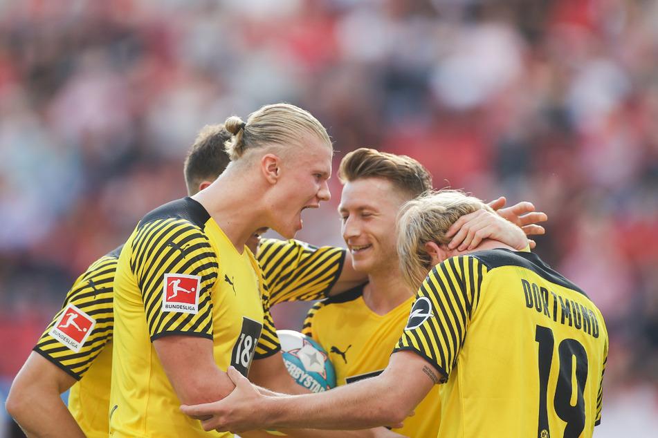 Sowohl Torjäger Erling Haaland 2.v.l. als auch Kreativspieler Marco Reus (32, 3.v..r.) fehlten Borussia Dortmund zuletzt merkbar. Fallen sie auch gegen Sporting Lissabon aus?