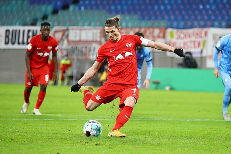 Kapitän Marcel Sabitzer verwandelte den fälligen Elfer kurz vor dem Halbzeitpfiff zum 2:0.