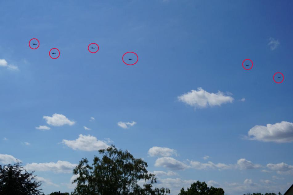 Sechs Militärhubschrauber wurden am Mittwochmittag über dem Chemnitzer Westen gesichtet.