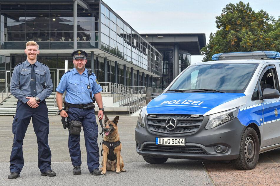 Sie werden auf der Blaulichtmeile dabei sein: Zolloberinspektor Maximilian Hempel (26, l.) und Polizeihauptmeister Alexander Petermann (45) mit seinem Schäferhund Flexx (9).