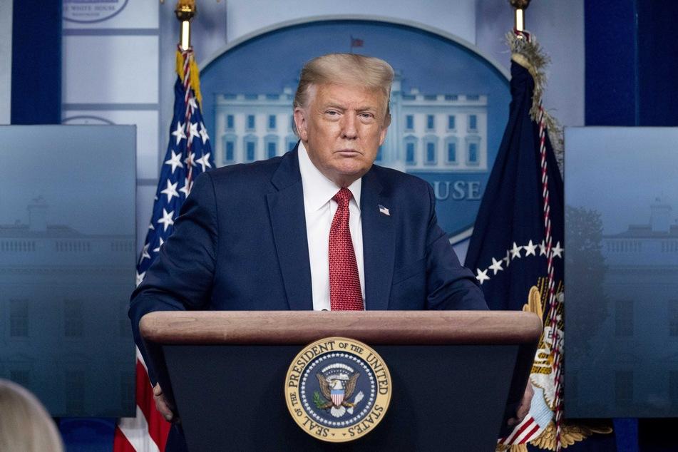Donald Trump, Präsident der USA, spricht auf einer Pressekonferenz.