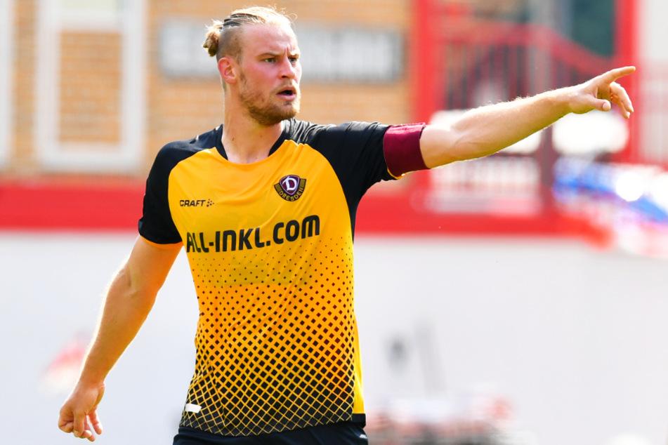 Sebastian Mai führte Dynamo in der ersten Halbzeit als Kapitän aufs Feld.