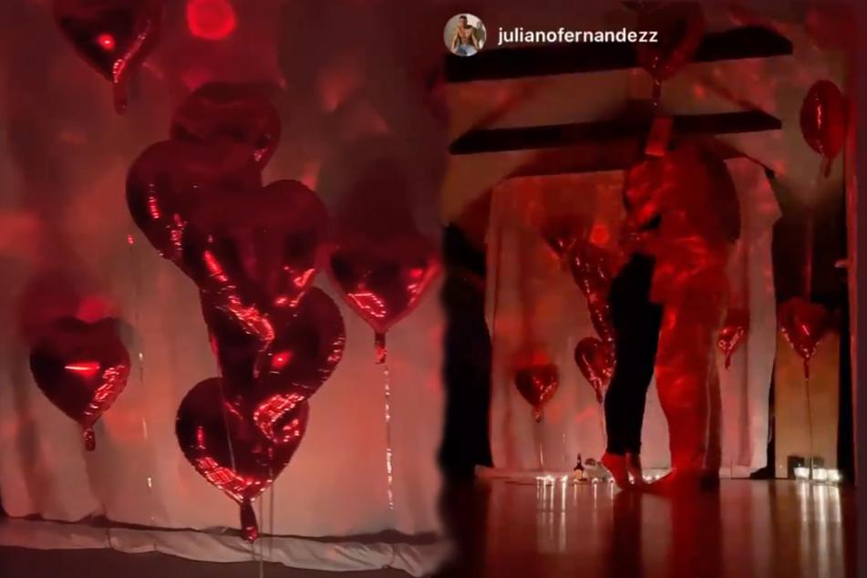 Überraschung geglückt: Juliano verzauberte Sandra mit Luftballons und Kerzen.