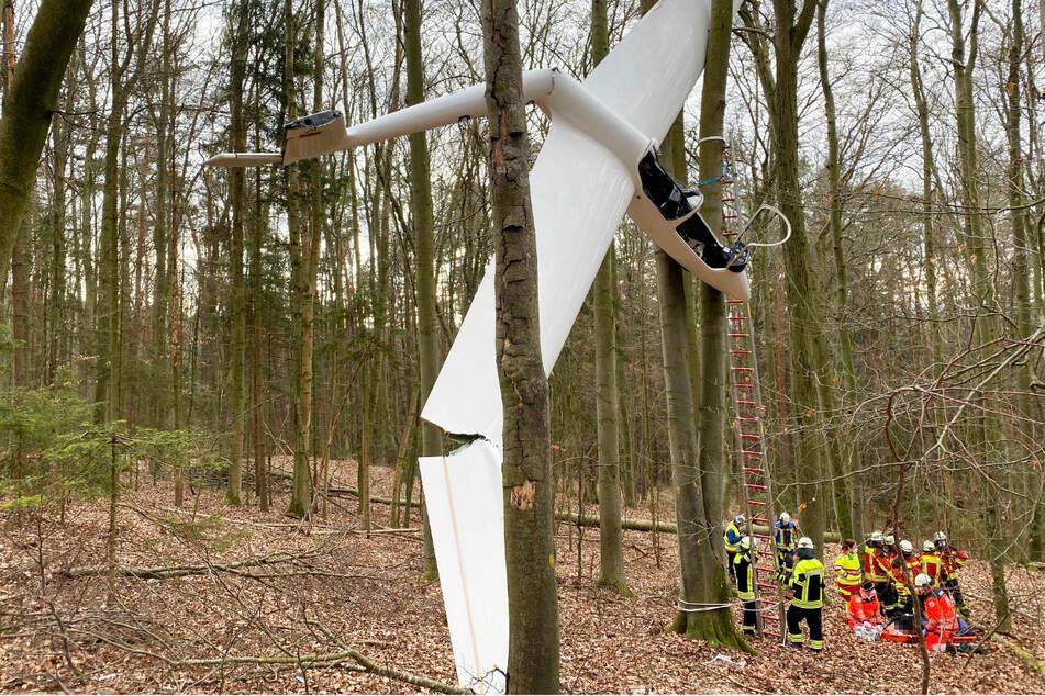 Segelflugzeug bleibt bei Absturz in Baumkrone hängen! Pilot in Cockpit gefangen
