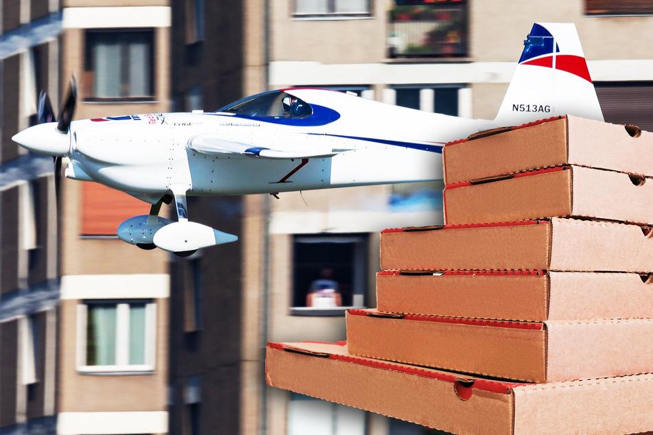 Wegen Ausgangssperre kommen Pizza und Bier jetzt mit dem Flugzeug!