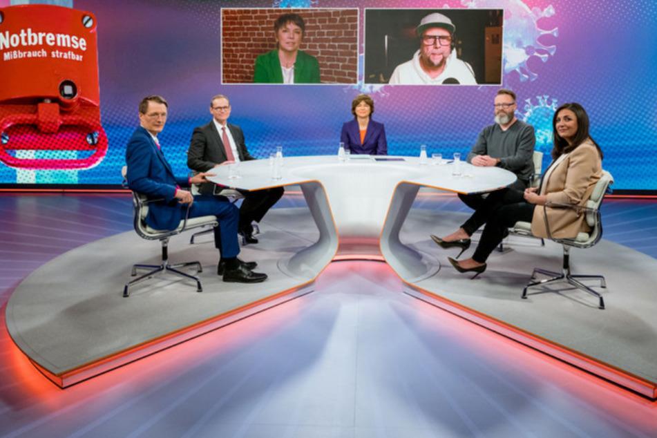 """Die Diskussionsrunde am 25. März 2021 bei """"maybrit illner"""" im ZDF."""