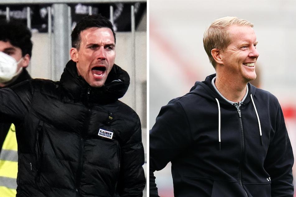 St.-Pauli-Coach Timo Schultz (44, r.) tritt mit seiner Mannschaft beim Karlsruher SC und Trainer Christian Eichner (38) an.