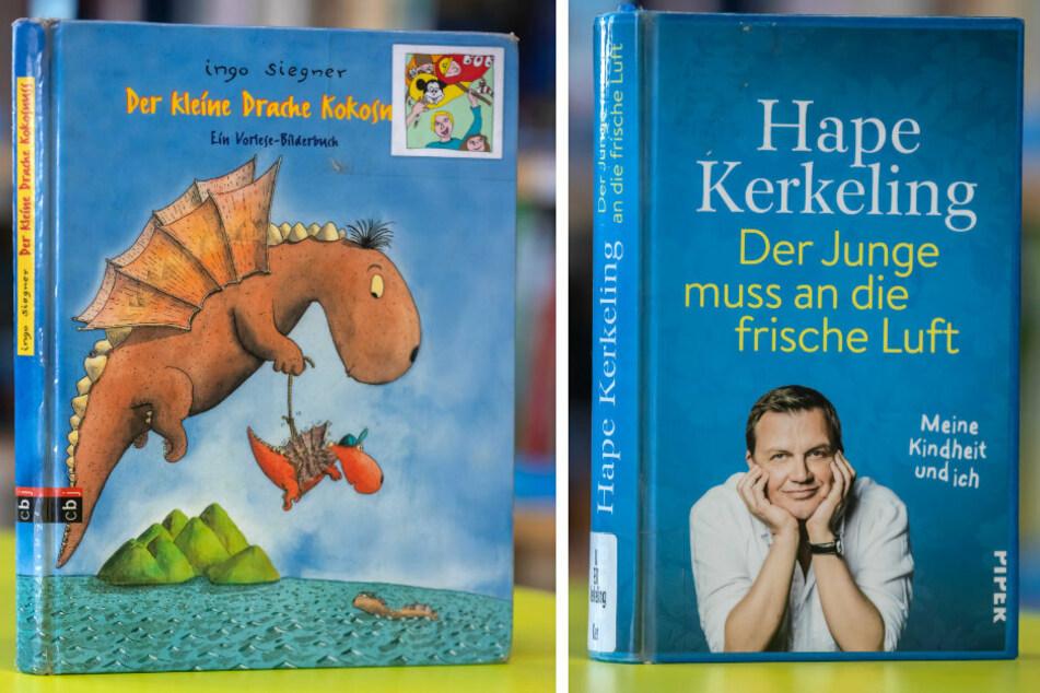 """Gefragtes Kinderbuch in diesem Sommer: """"Der kleine Drache Kokusnuss"""" von Ingo Siegner (F.l.). Der absolute Bestleiher: """"Der Junge muss an die frische Luft"""" von Hape Kerkeling."""