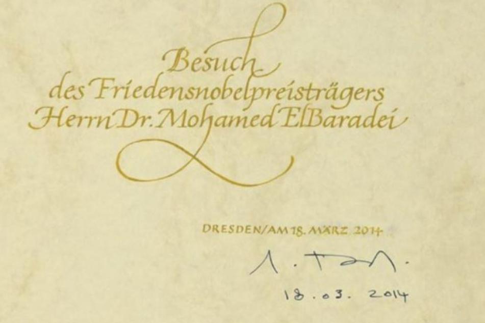 Gästebucheintrag von Friedensnobelpreisträger elBaradei.