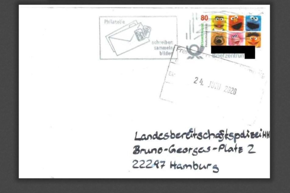 Die Postkarte von Ben steckte in diesem Briefumschlag.