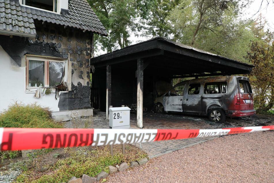 Brandserie in Chemnitz geht weiter: Carports, Wohnmobil und Mülltonnen in Flammen