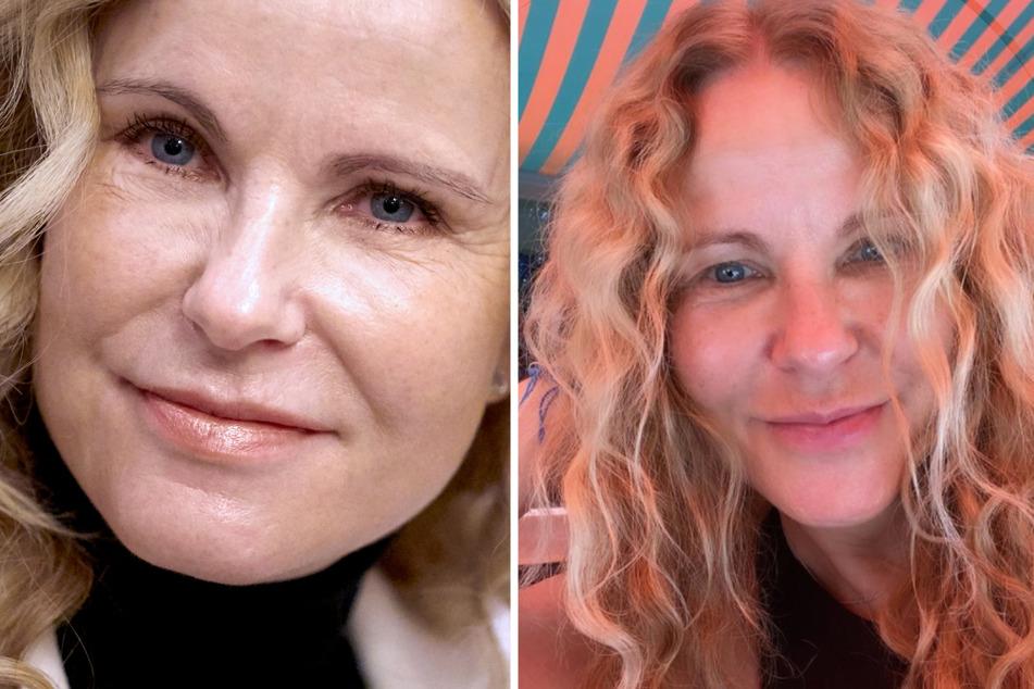 So sieht man Katja Burkard (56) selten: Auf einem Instagram-Foto (rechts) zeigte sie sich ungeschminkt.
