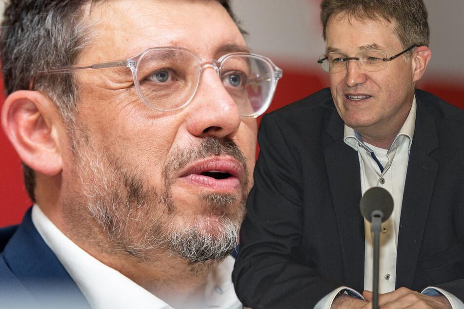 Sie konkurrieren ums Präsidentenamt beim VfB Stuttgart: Amtsinhaber Claus Vogt (51,l.) und Herausforderer Pierre-Enric Steiger (49). (Fotomontage)