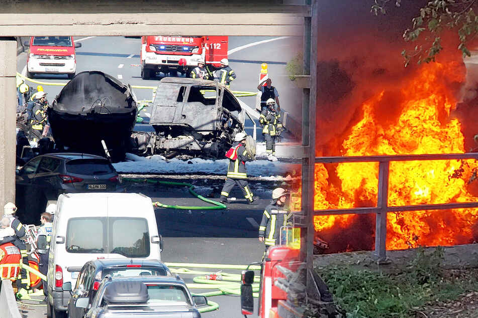 Unfall auf der A40: Tanklaster mit 35.000 Litern Kraftstoff brennt aus!