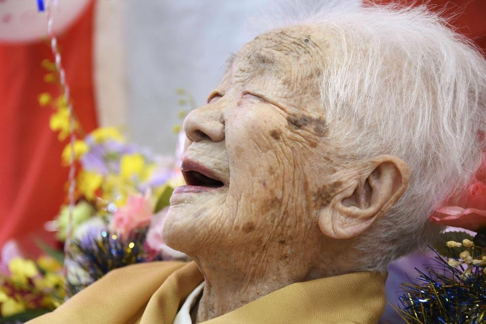 Kane Tanaka smiling, three days after her 117th birthday.
