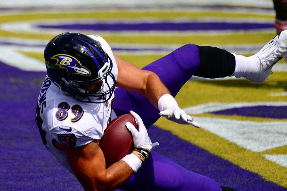 Ravens tight end Mark Andrews caught two touchdowns on Monday night.