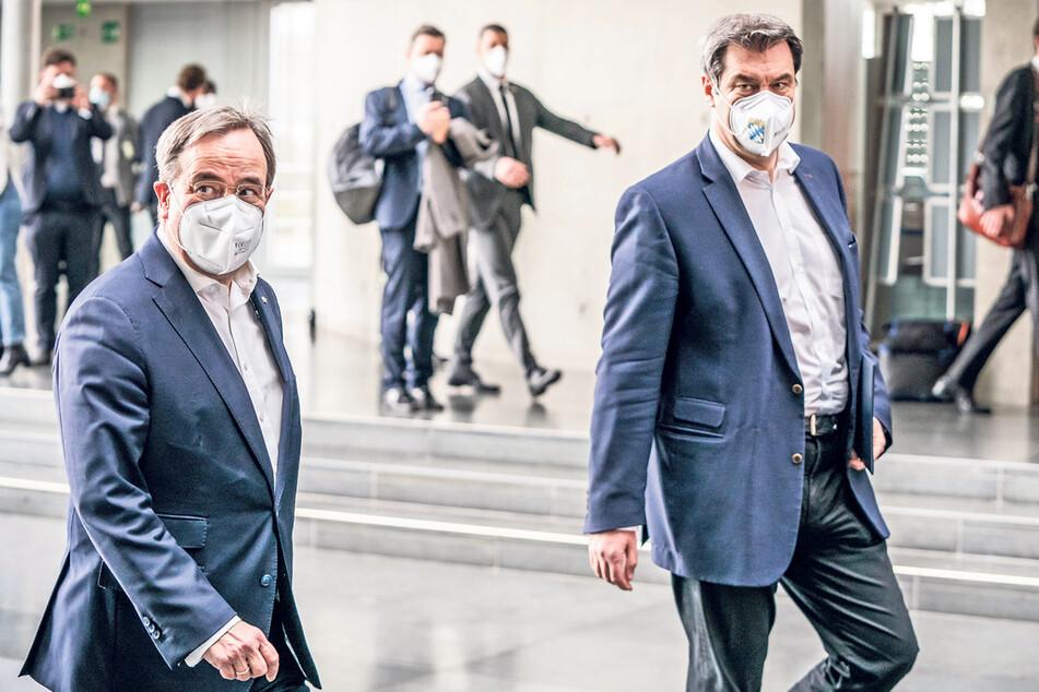 CDU-Chef Armin Laschet (60, l.) und CSU-Chef Markus Söder (54) sind Rivalen im Kampf um die Unions-Kanzlerkandidatur.