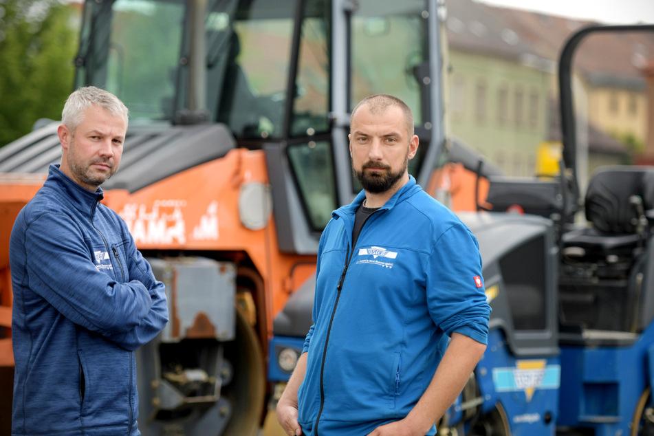 Die Inhaber der Zittauer Firma Osteg Jan Wildenhain (l.) und Marc Matthäi sind sauer: Seit der Grenzöffnung treiben sich immer wieder Diebe auf ihrem Gelände herum.