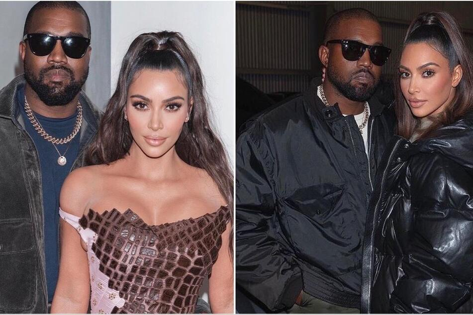 Kim Kardashian attended her estranged husband Kanye West's live-streamed album-release party on Thursday (collage).
