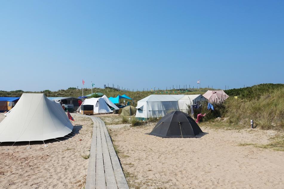 Zeltplatz auf der Helgoländer Düne.