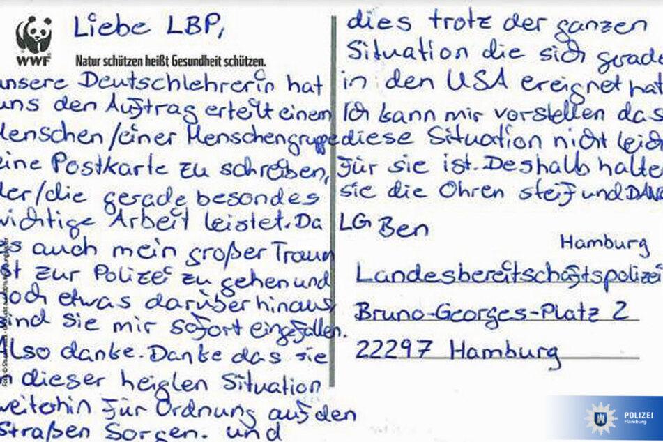 Diese Postkarte veröffentlichte die Polizei Hamburg im Internet.