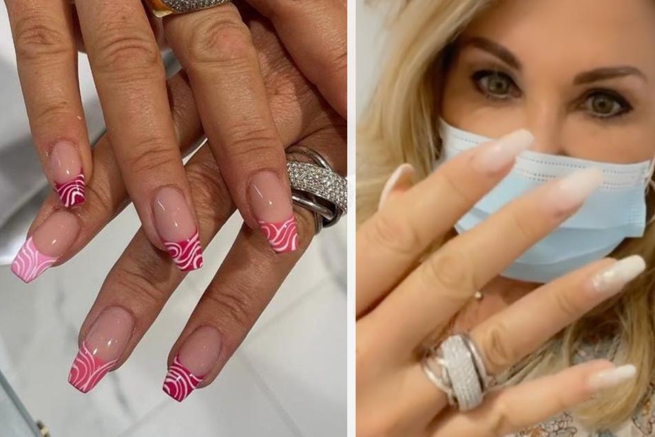 Carmen Geiss (56) zeigte zunächst ihre bisherigen Fingernägel (r.) und im Anschluss die frisch gemachten Nägel.