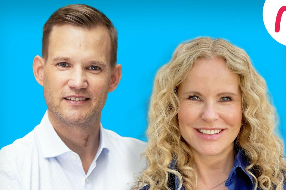 """Hendrik Streeck (43) und Katja Burkhard (55) moderieren immer samstags den Podcast """"Hotspot – der Pandemie-Talk"""". © Audio Now"""