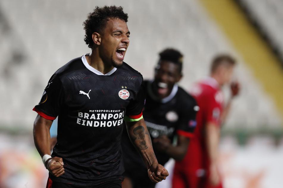 Mann des Spiels: Donyell Malen traf beim Last-Minute-Sieg des PSV Eindhoven doppelt.