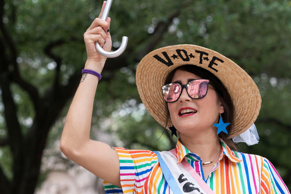 An Austin resident shows support for voting rights at a rally decrying voter suppression at the Texas State Capitol on July 8.