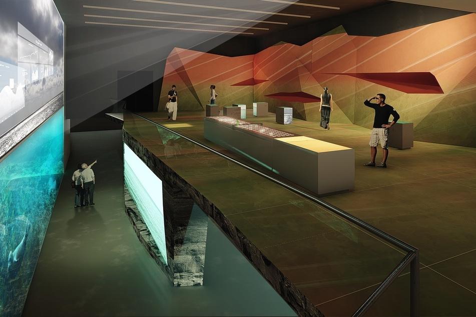 Die Visualisierung zeigt einen Raum der geplanten Erlebnis-Ausstellung Bluehouse auf Helgoland.
