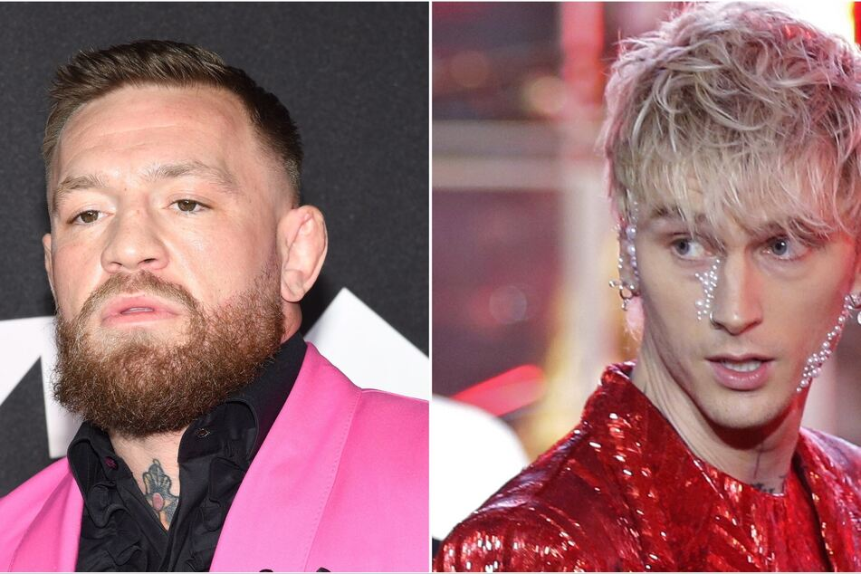 On Sunday, Conor McGregor (l) and Machine Gun Kelly (r) were seen getting into an altercation on the red carpet at the VMAs.