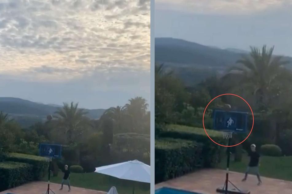 Robert Geiss (57) teilte am Samstag einen Instagram-Clip, in dem er einen Korb aus beachtlicher Entfernung traf.