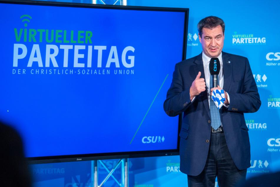 Markus Söder, CSU-Vorsitzender und Ministerpräsident von Bayern, bei seiner Rede beim virtuellen CSU-Parteitag in der CSU-Landesleitung.